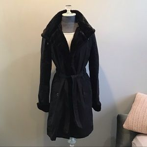 Gallery Fur Lined Trench Coat